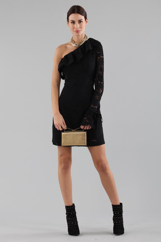 One-shoulder short dress in lace
