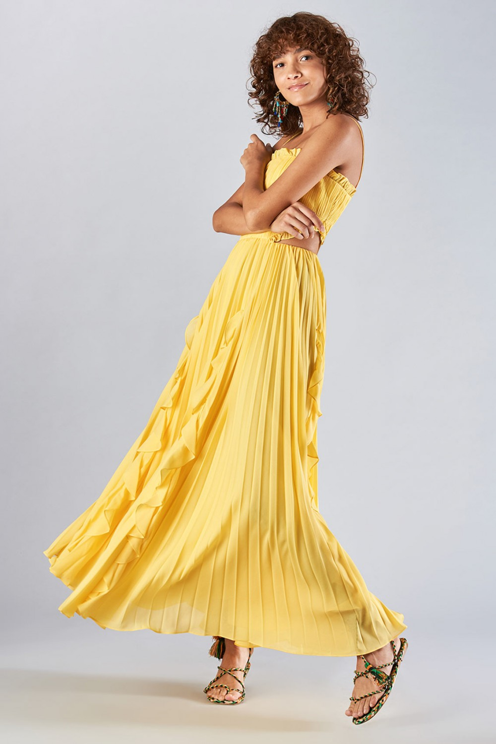 Yellow dress with side cuts