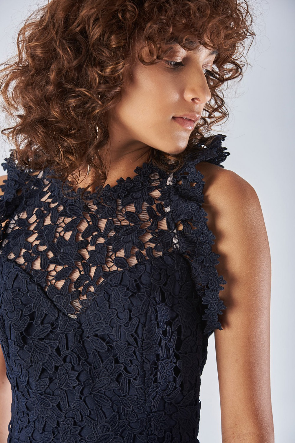 Blue lace dress with transparencies