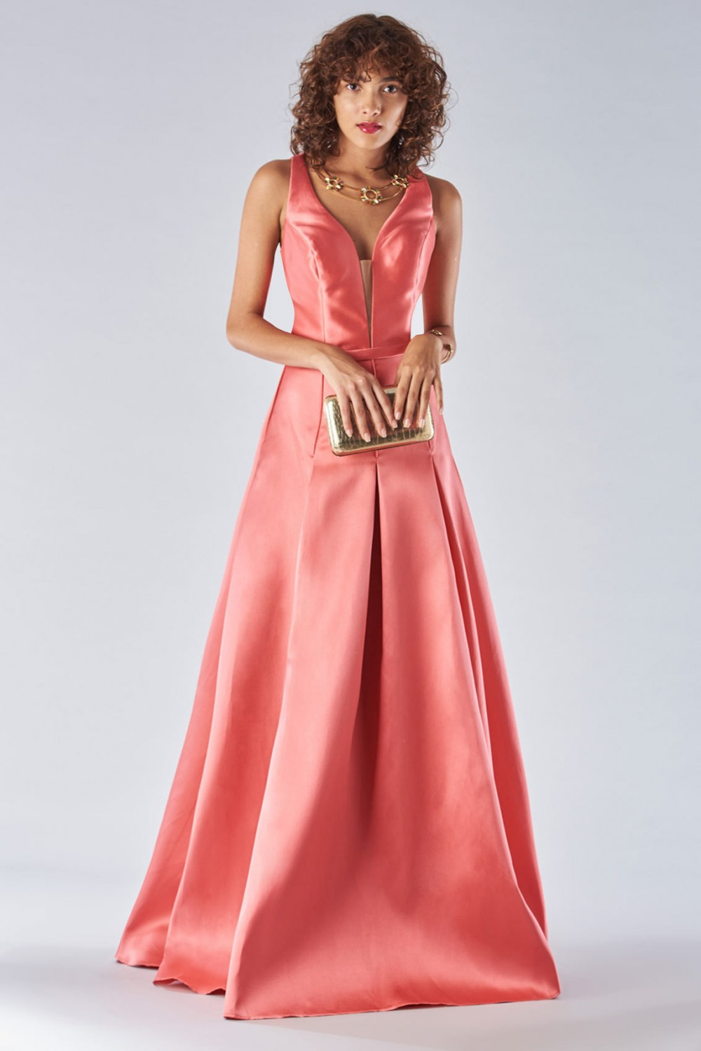 Satin dress with structured bodice
