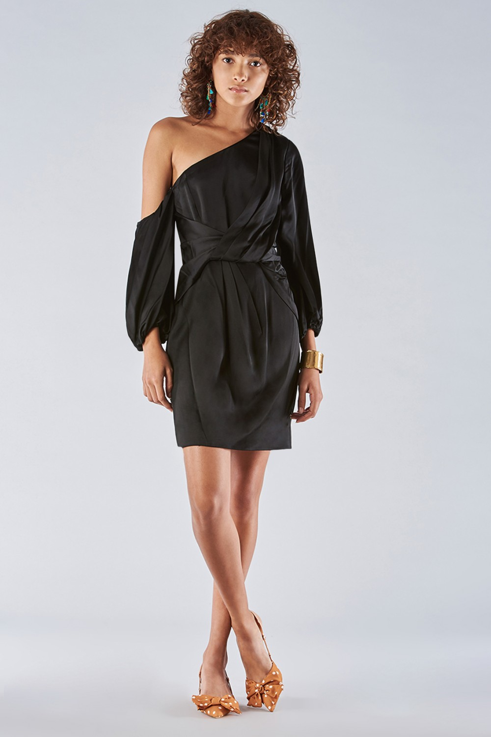 One shoulder dress with off-shoulder sleeves