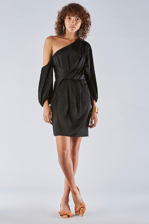 One-shoulder dress with off-shoulder sleeve