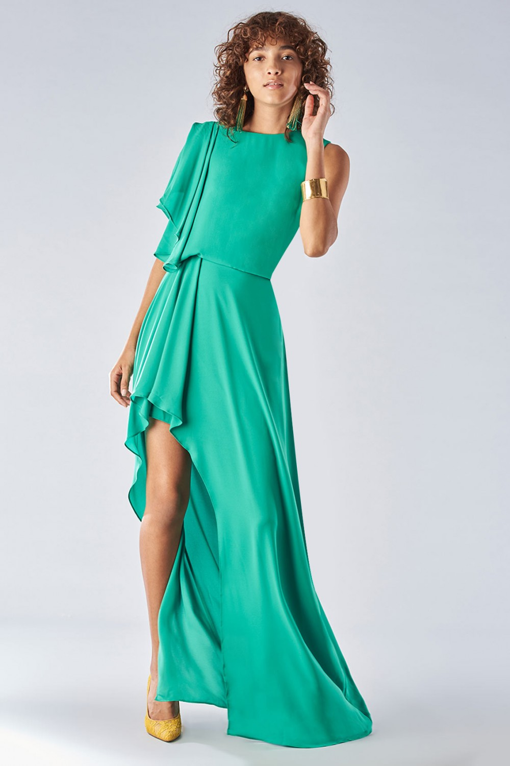 Green dress with slit