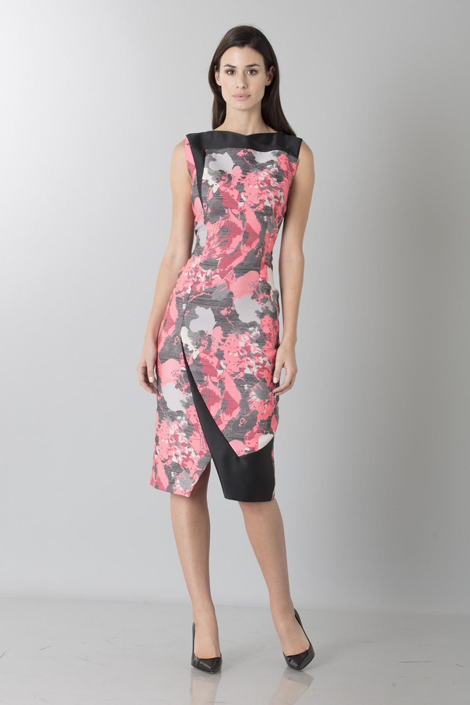 Fuchsia dress with geometric panels