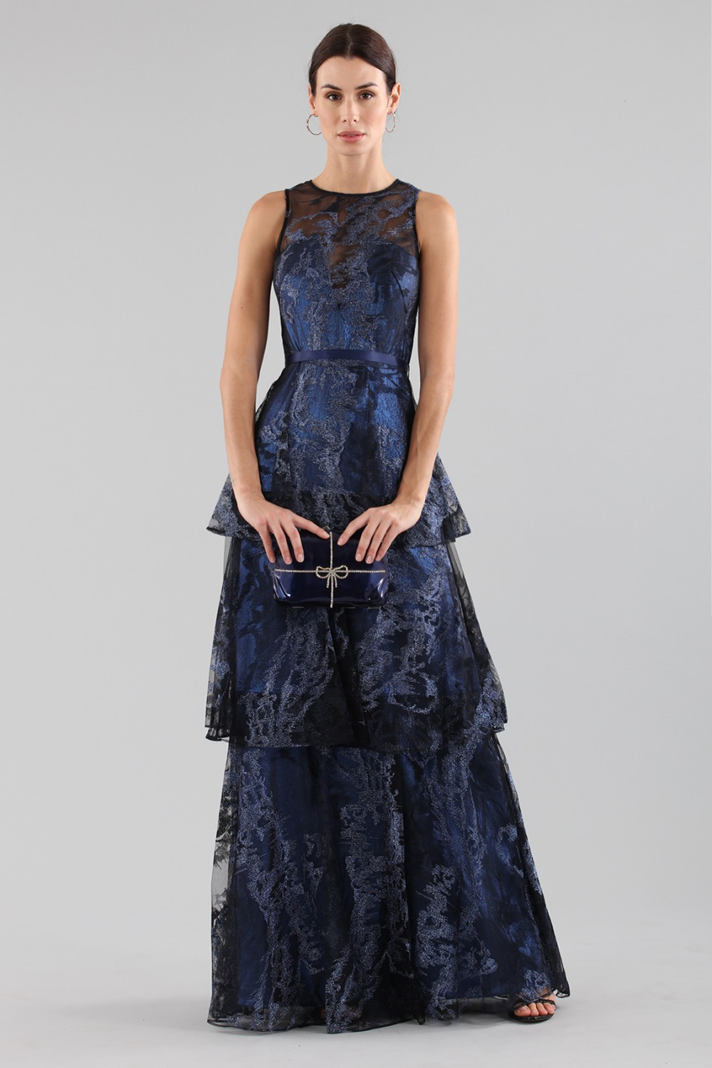 Long dress with brocaded laminé blue ruffles
