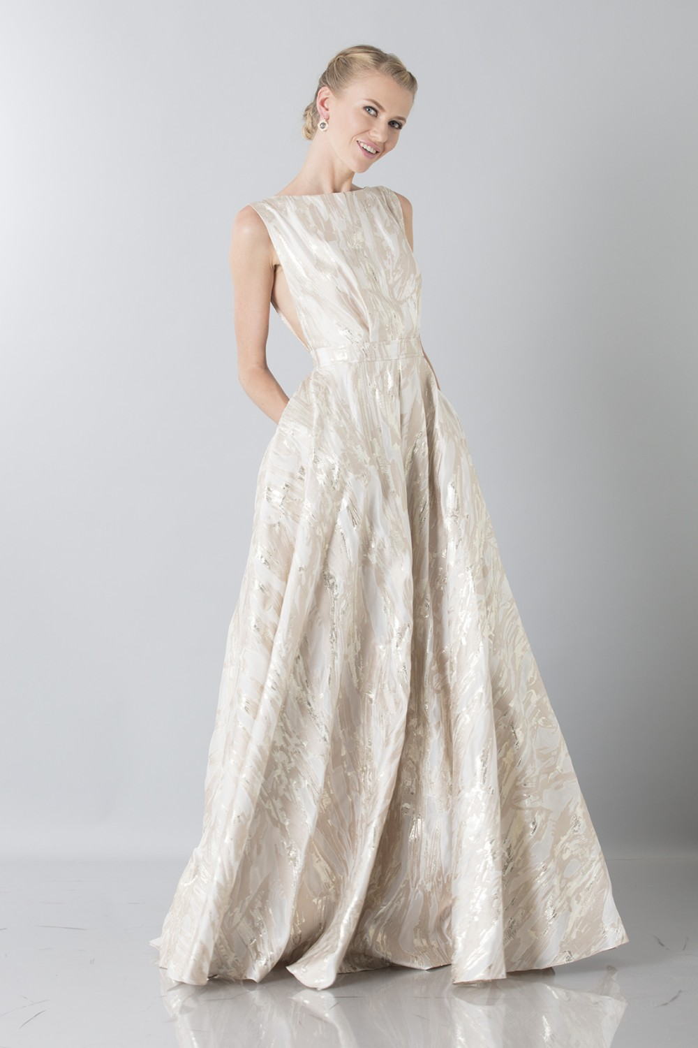 Long dress with golden pattern