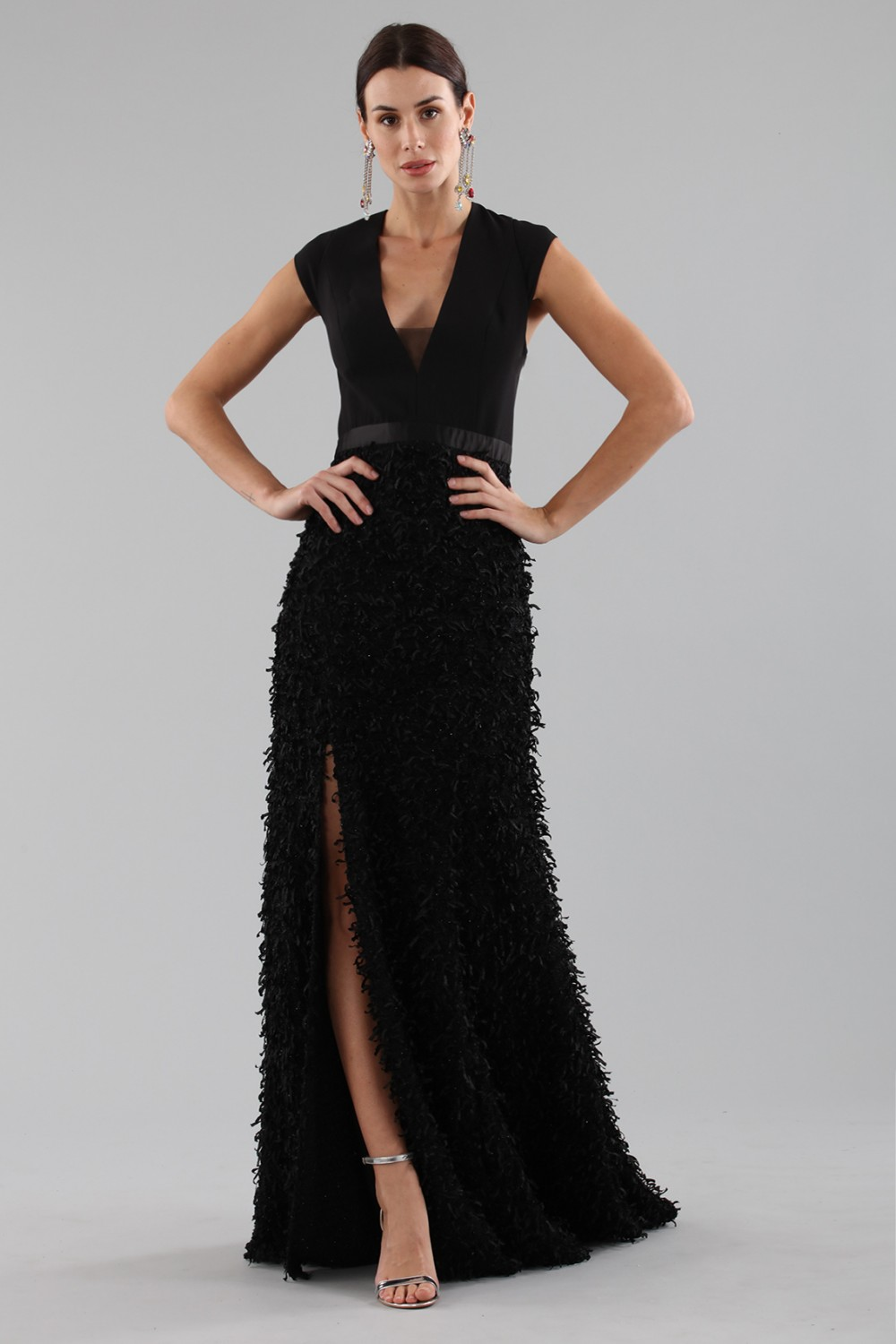 Black dress with finished skirt and V cut to the back