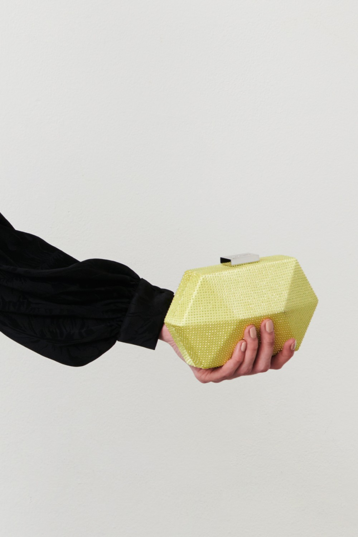 Geometric lime clutch with rhinestones