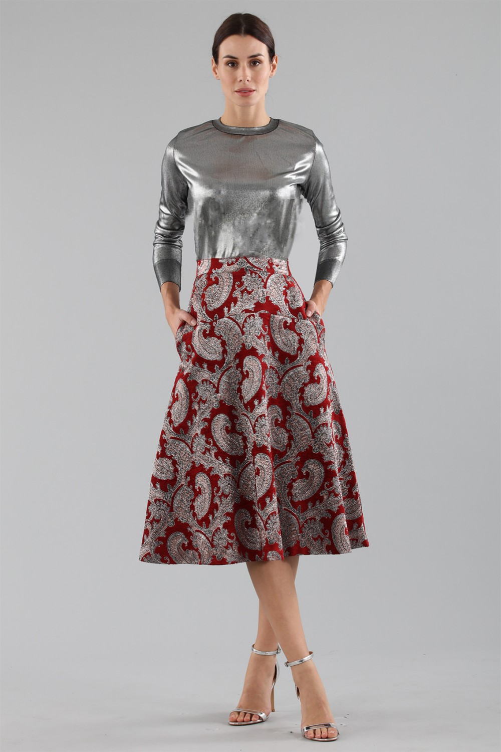 Burgundy skirt with brocaded silver pattern