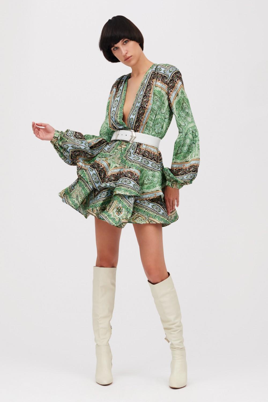 Mini abito verde con stampa beduina