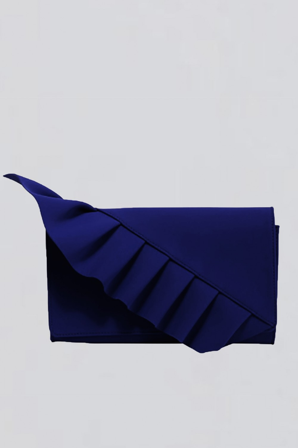 Blue clutch with ruffles
