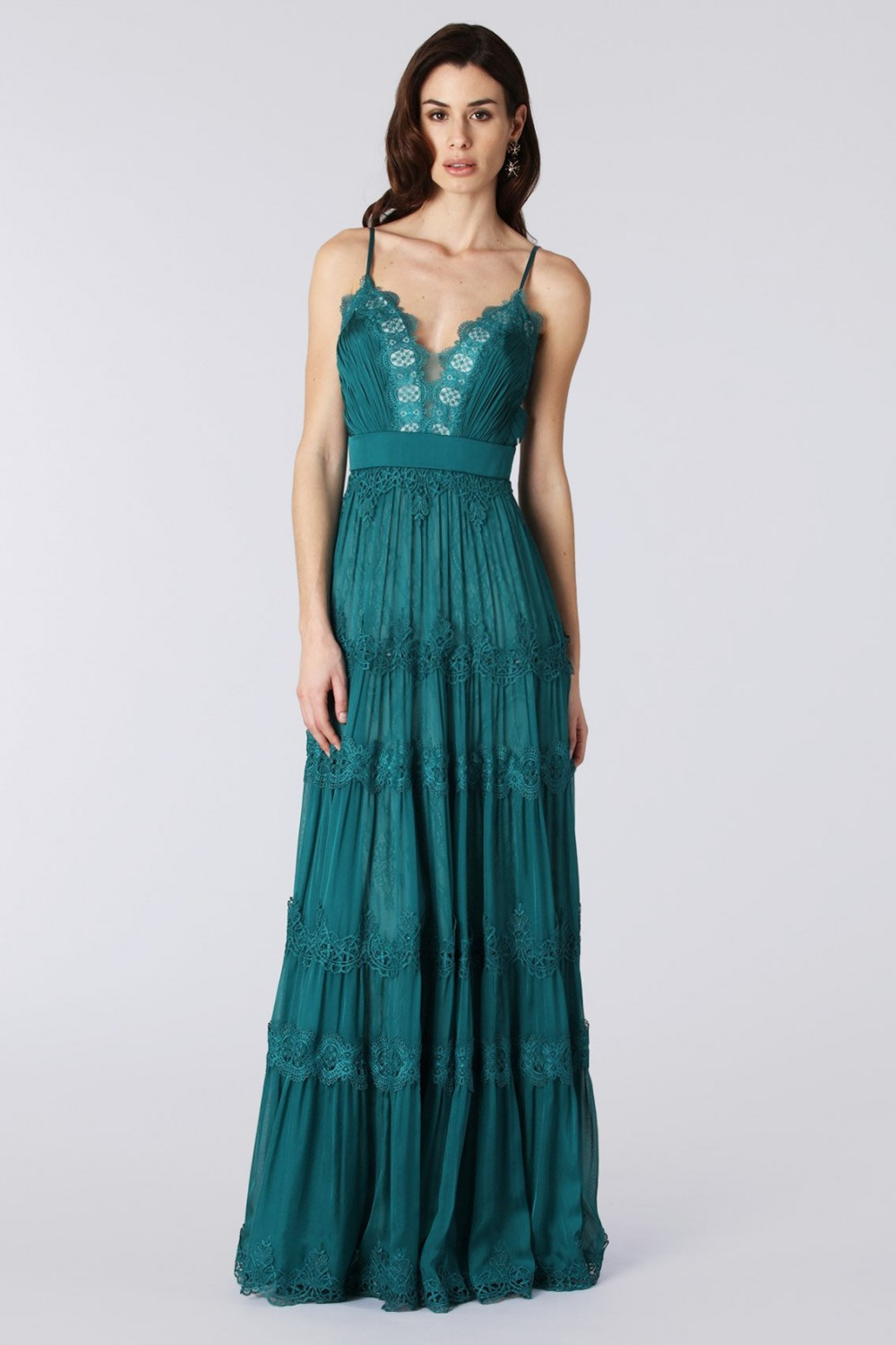 Green dress with lace embroidery and worked neckline