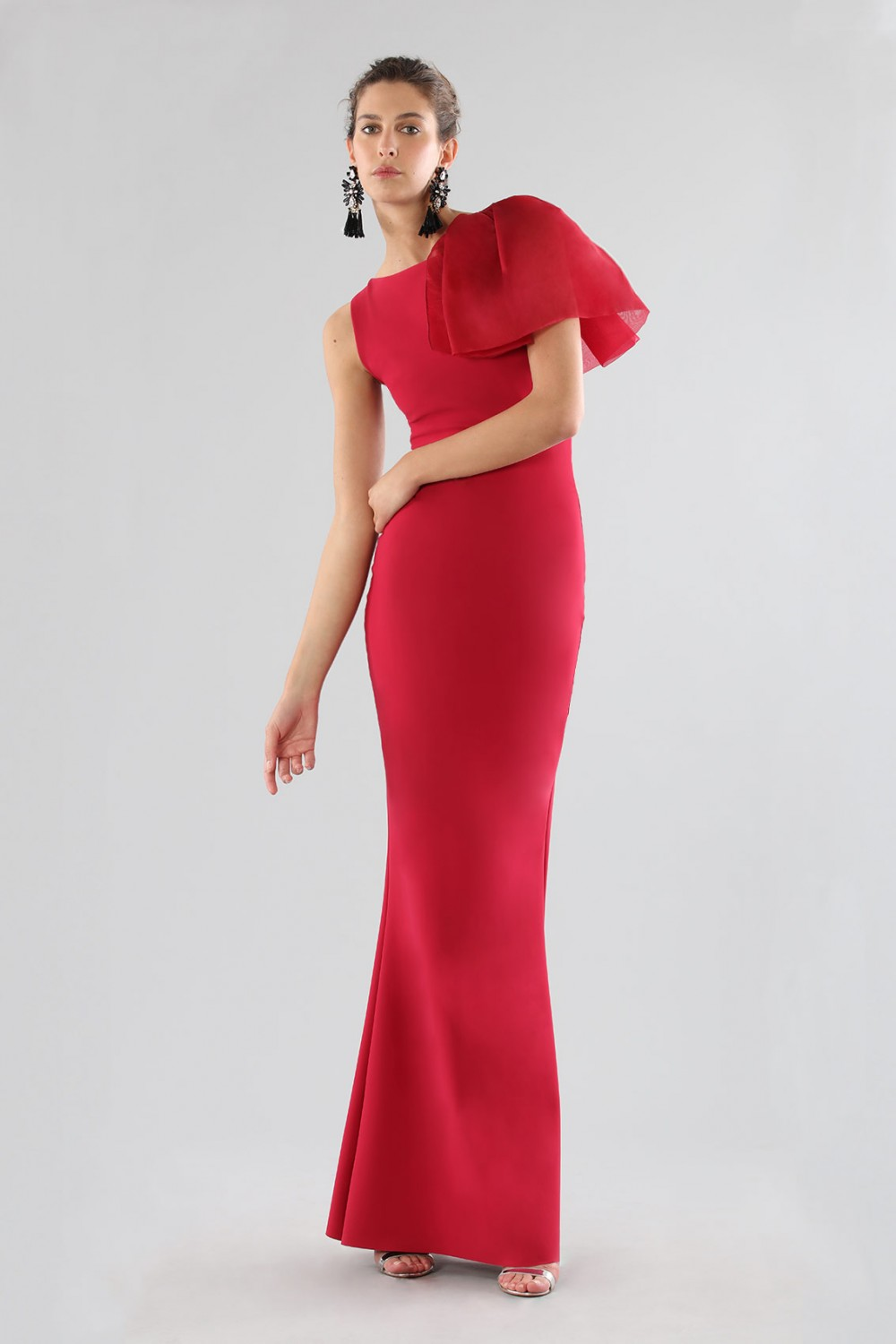 Cherry dress with side ruffles