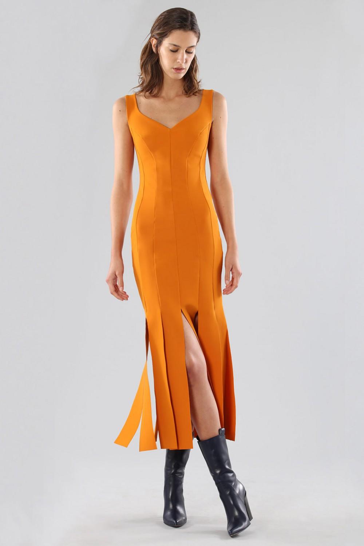 Orange knee-length dress with fringe