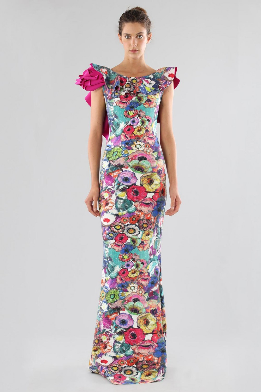 Printed dress with bare back
