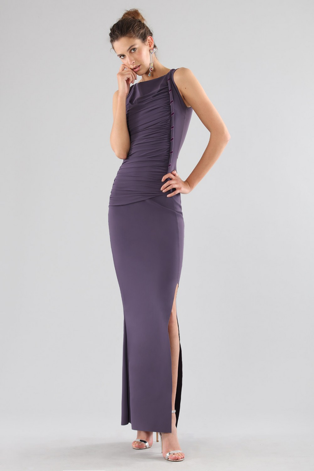 Plum dress with drapery
