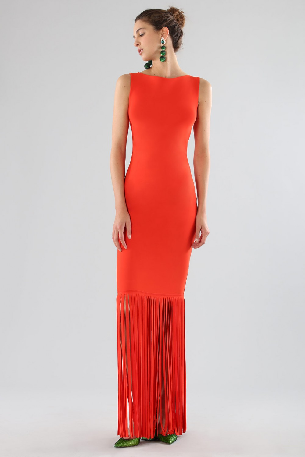Red dress with fringes