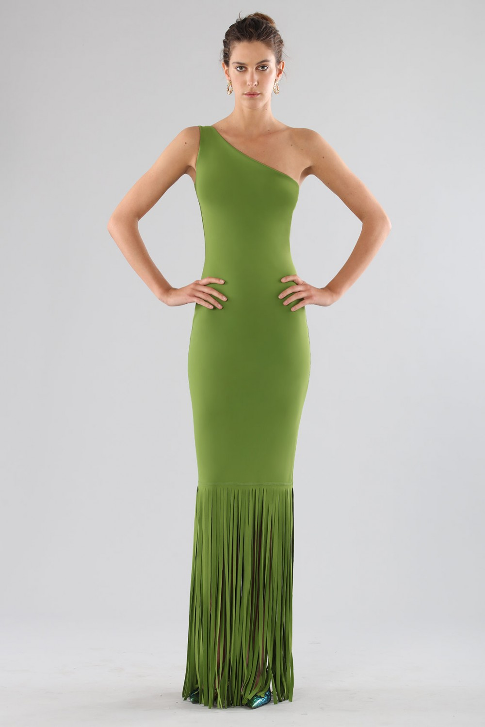 Green one-shoulder dress with fringes