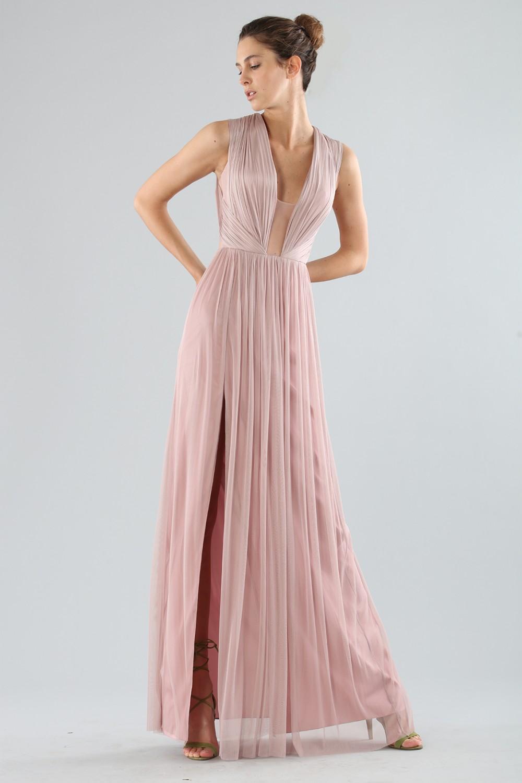 Long pink dress with deep neckline