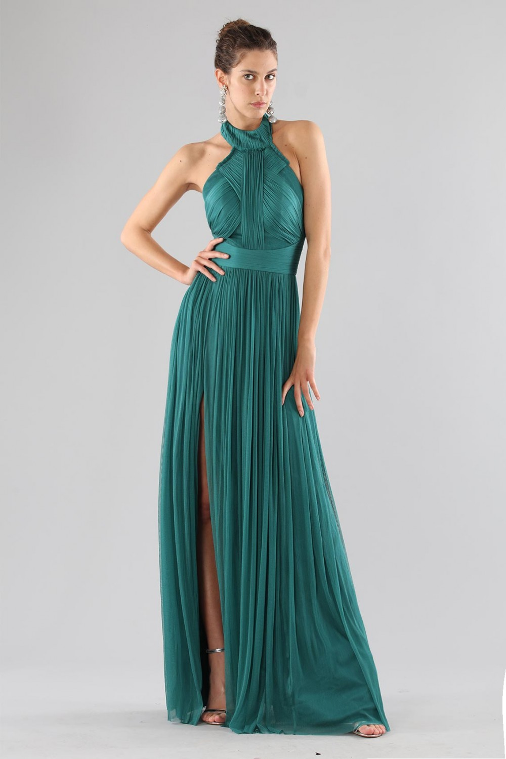 Green dress with halter neck