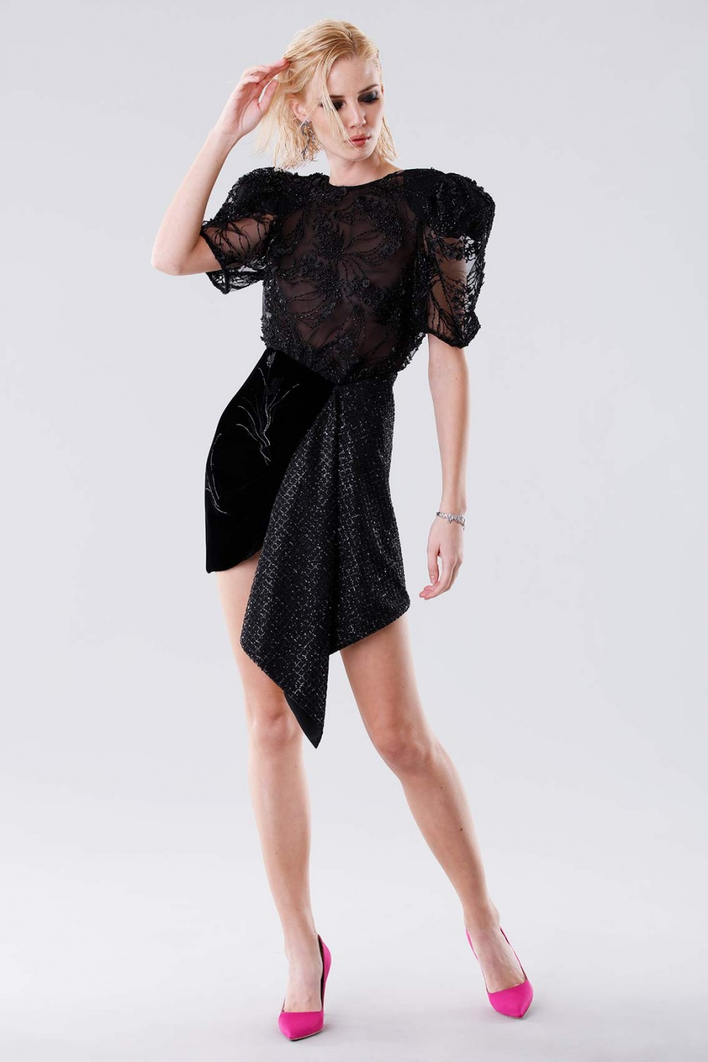 Black dress with sequins and side slit