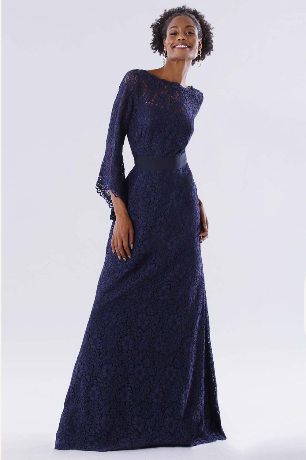 Blue lace dress with long sleeves