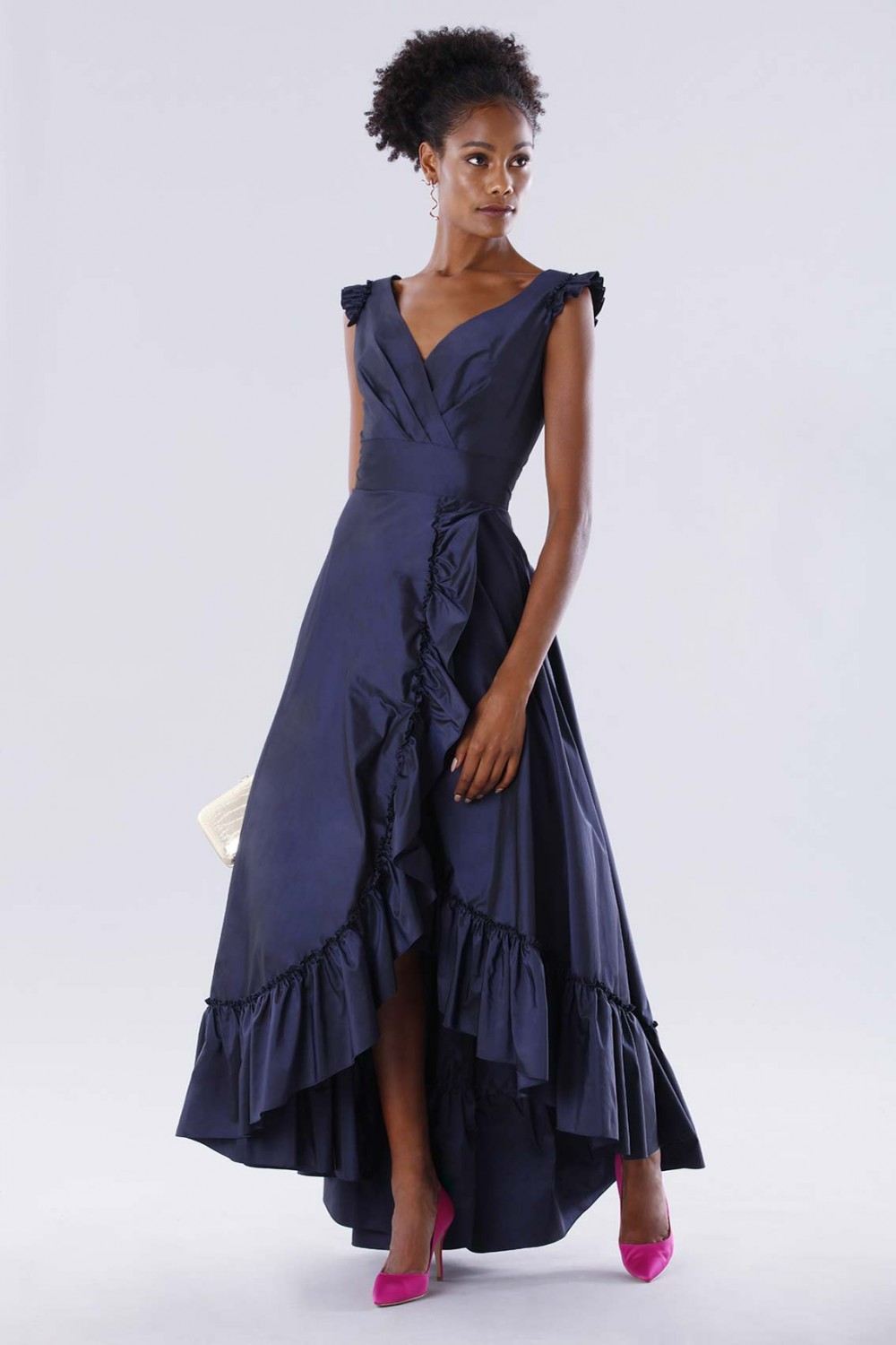Blue taffeta dress with ruffles