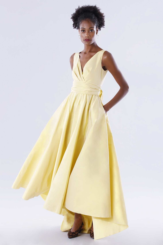 Yellow taffeta dress