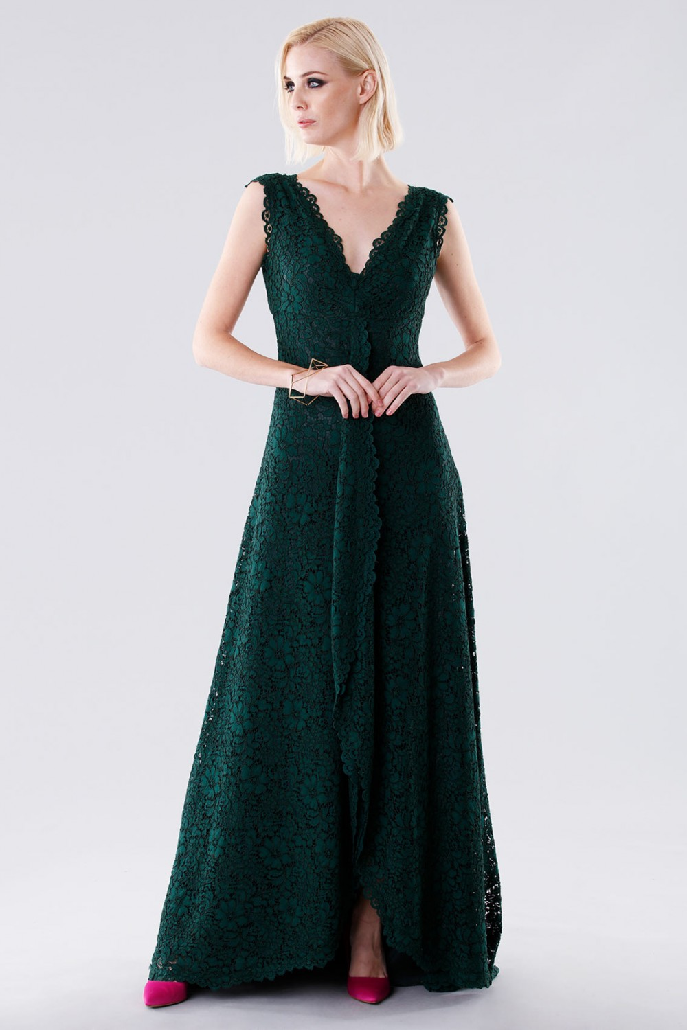 Green lace dress with drapery