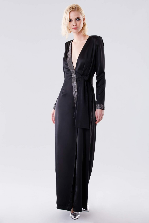 Long dress with rhinestone strap