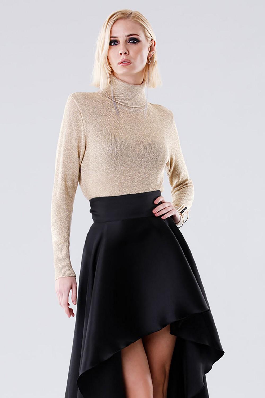 High-necked golden sweater
