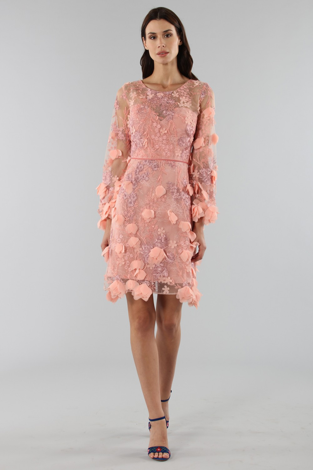 Cocktail dress with 3D floral embroidery