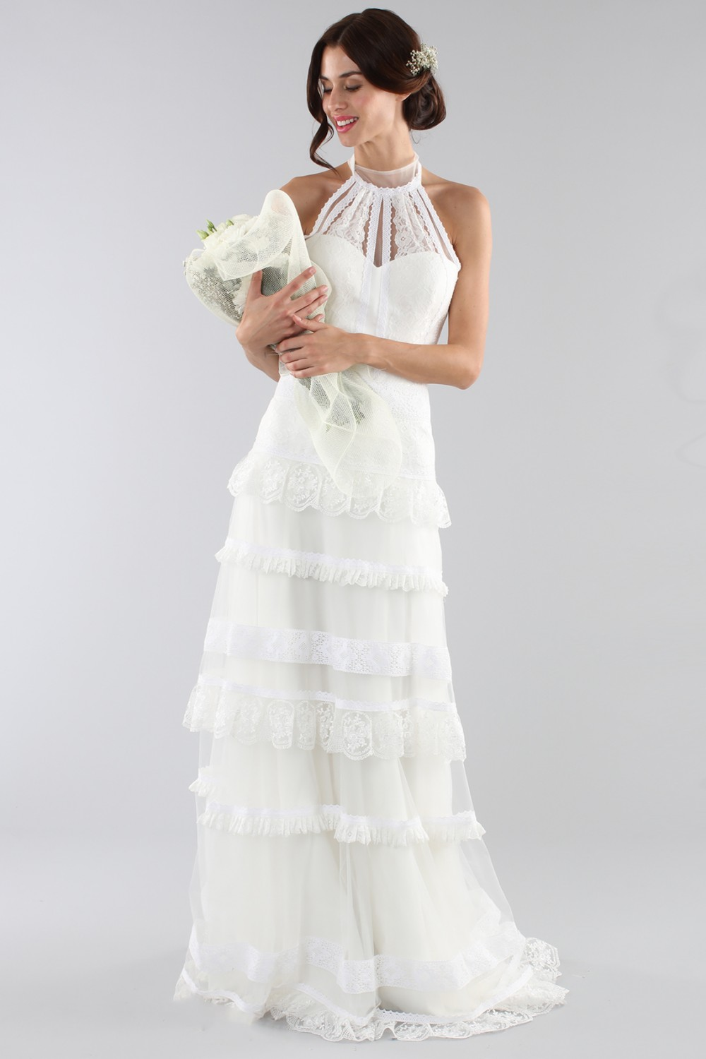 Lace wedding dress with american collar