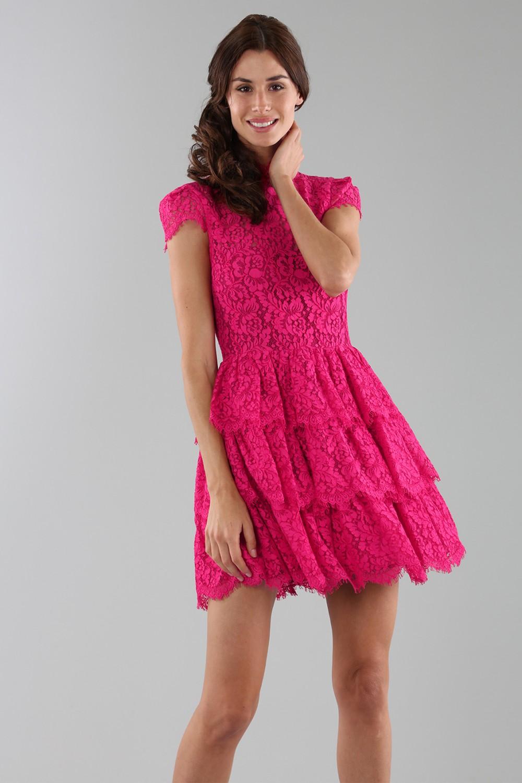 Fuchsia lace dress with skirt