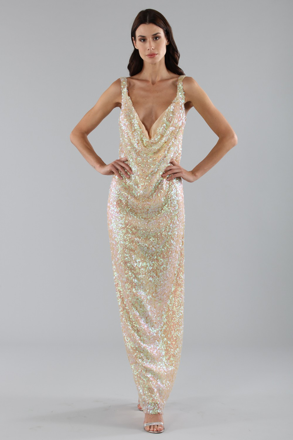 Dress in silver and gold sequins