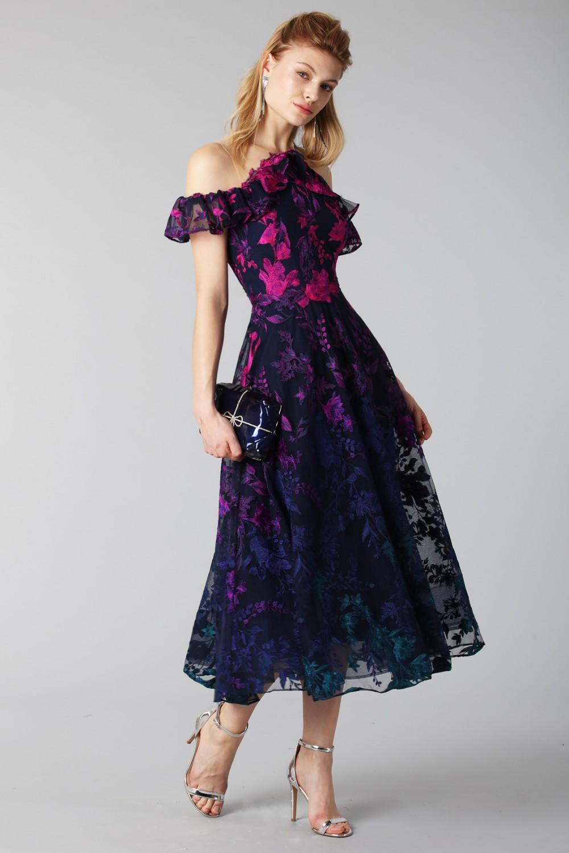 Longuette dress with transparent neckline