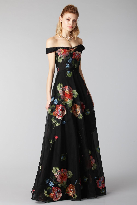 3758ea818251 ... Drexcode - Long off shoulder black dress with floral pattern - Marchesa  Notte - Rent ...