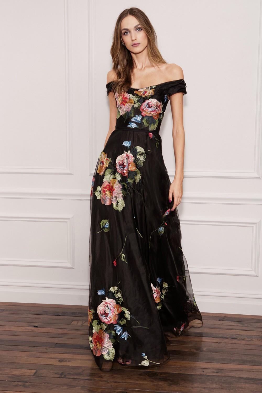 Long off shoulder black dress with floral pattern