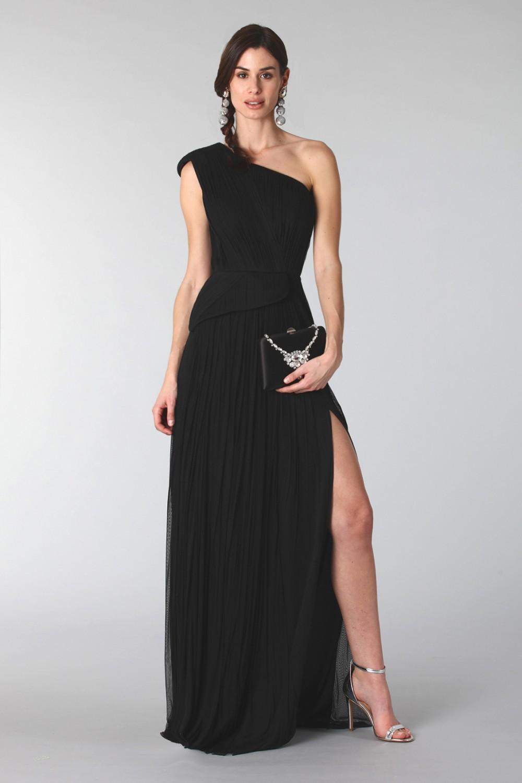 Black dress with single shoulder silk