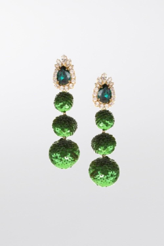 Earrings in green sequins