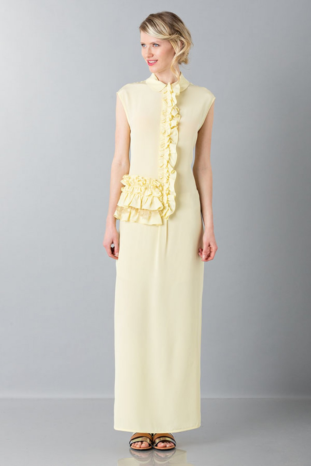 Yellow tunic with ruches