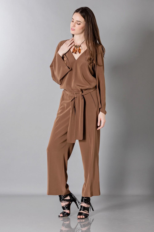 Long sleeve brown jumpsuit