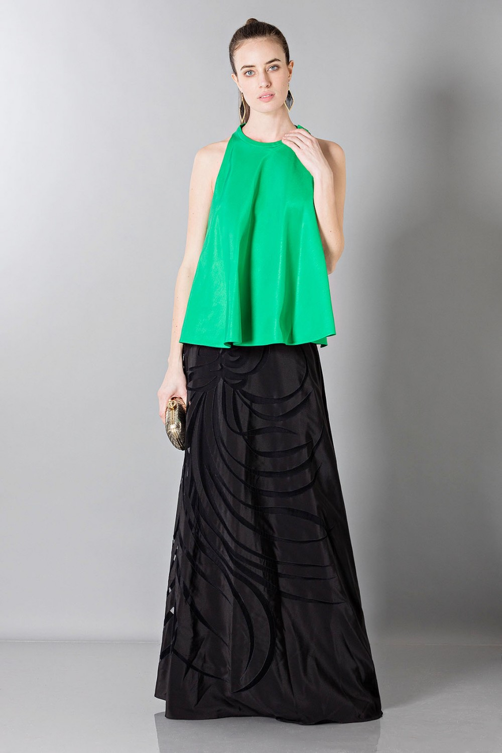 Floor-length silk skirt with pattern in contrast