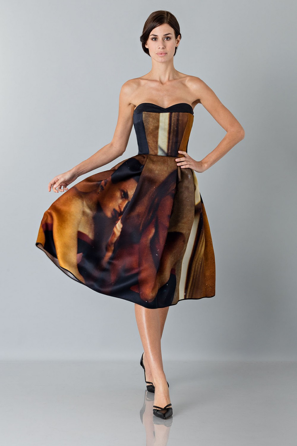 Bustier dress with print