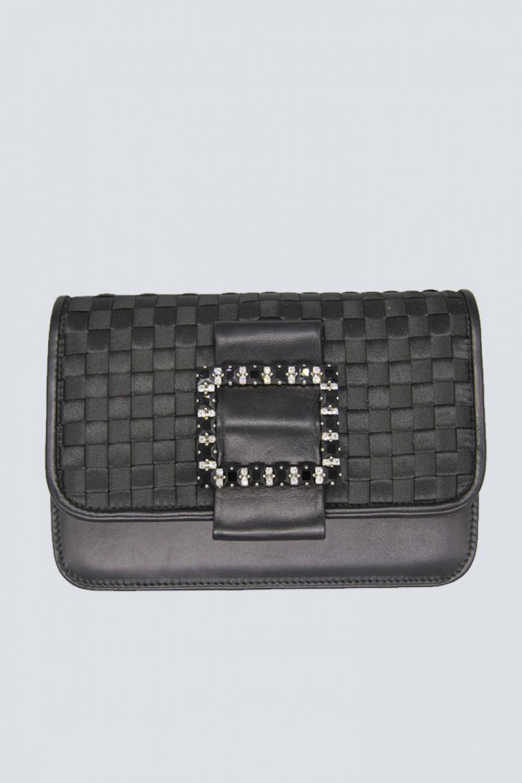 Black clutch with pompom