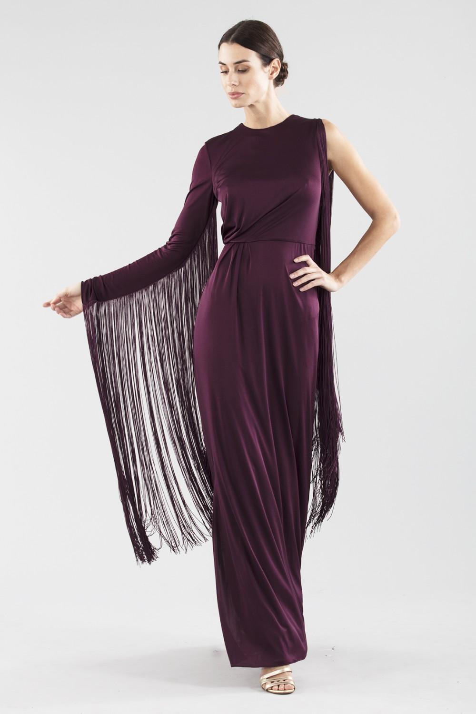 Fringed single-shoulder dress in burungy color