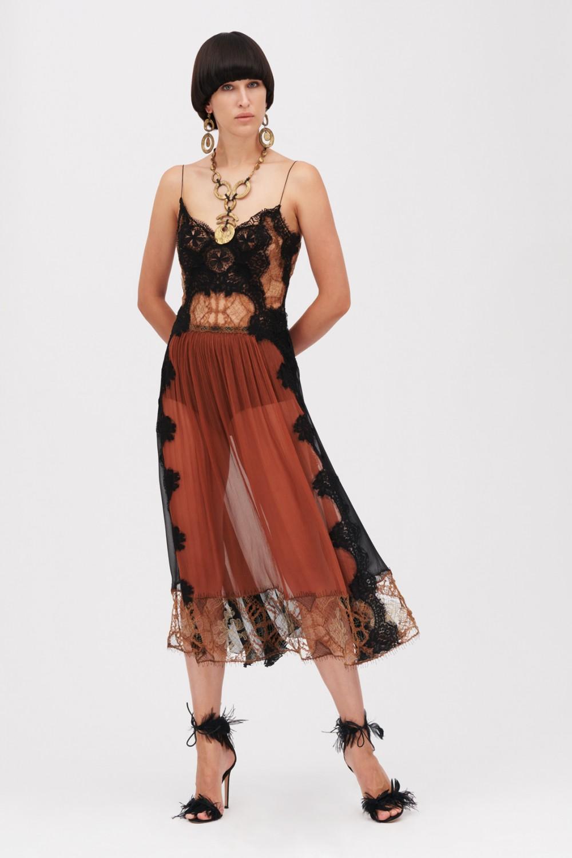 Lace and silk dress