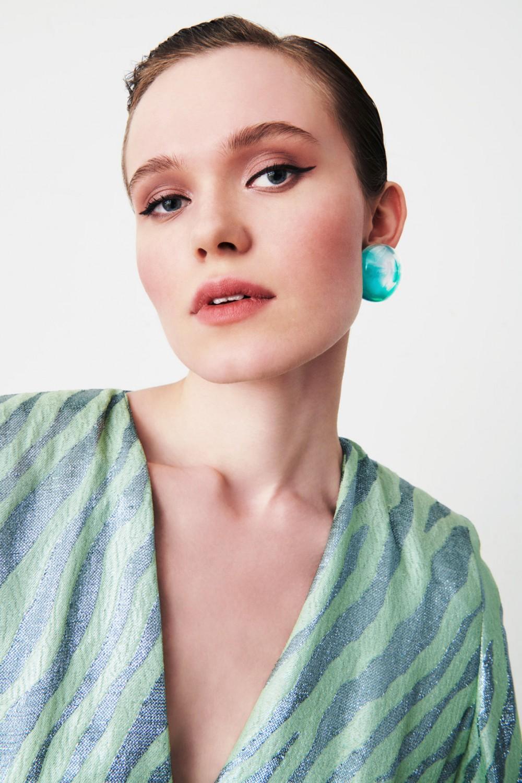 Green resin earrings