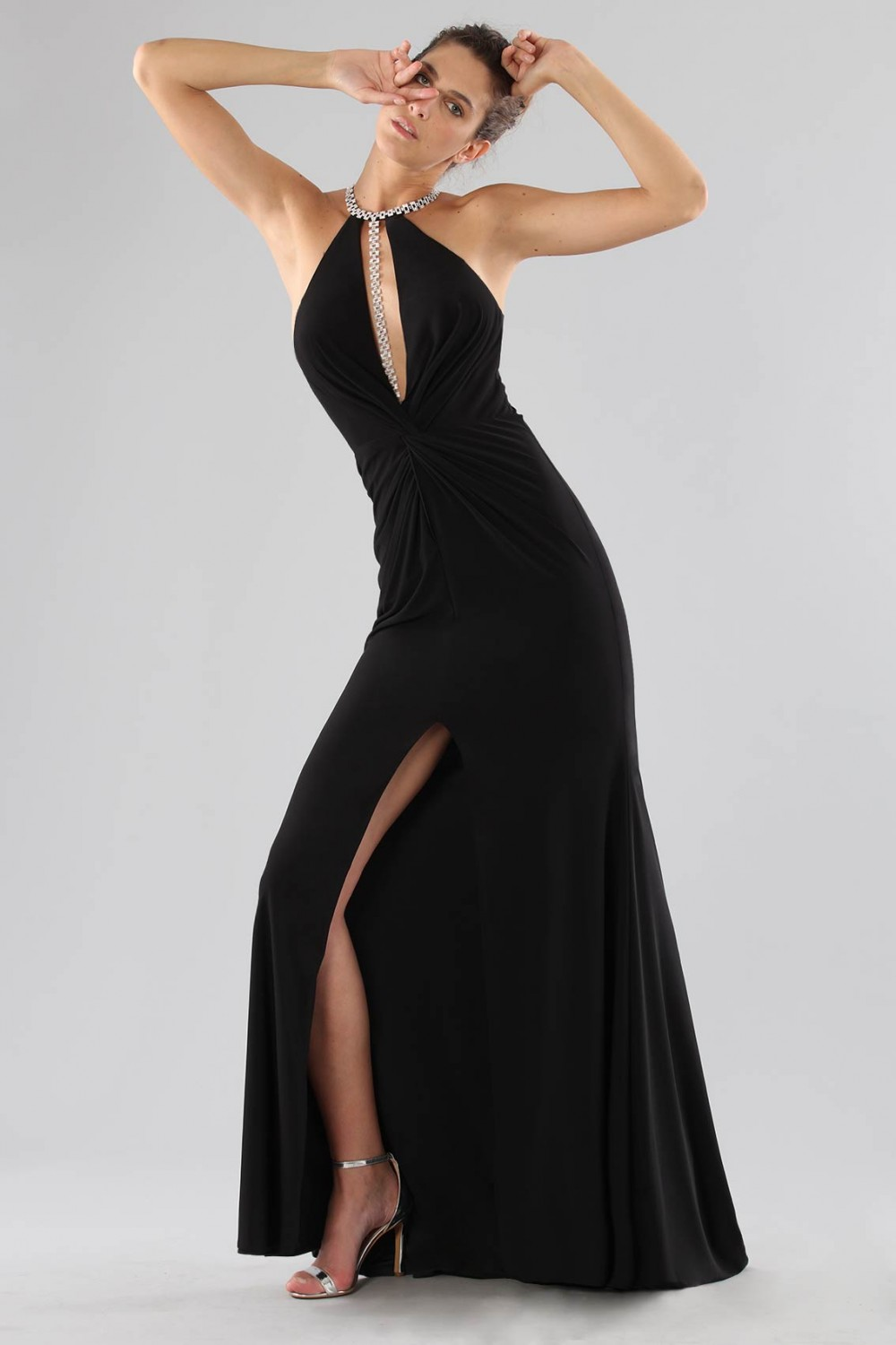 Dress with insert and jewel neck