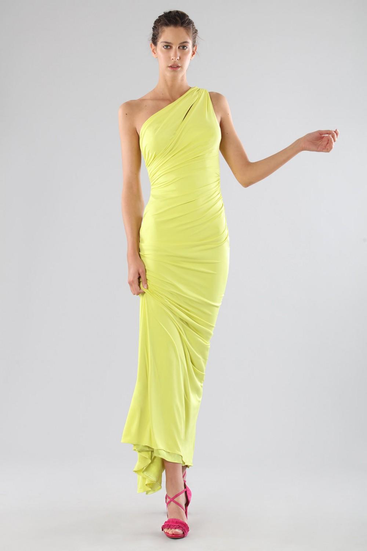 One-shoulder lime dress with details